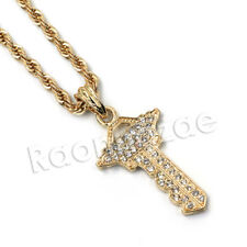"""HIP HOP GOLD ICED FORTUNE KEY 24"""" ROPE CHAIN NECKLACE"""