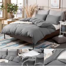 3 Pieces Duvet Comforter Cover Set With Pillowcase Microfiber Double Size Grey