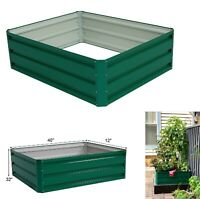 Galvanized Steel Raised Garden Planter Bed Vegetable Planting Flowers Box Seeds