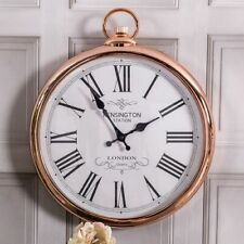 Large Round Copper Fob Clock Wall Mounted Roman Numerals Vintage Chic Home