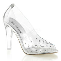 """Fabulicious CLEARLY-420 Clear 4 1/2"""" High Heel Pumps Transparent Rhinestones"""