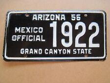 1956 Arizona license plate, Mexico Official. Rare