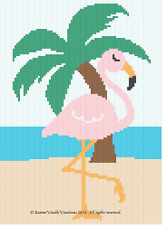 Crochet Patterns - FLAMINGO w/PALM TREE Baby GIRL Graph Afghan Pattern *EASY*