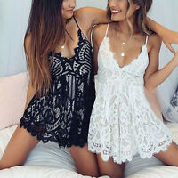 Sexy Women Sexy Playsuit V Neck Jumpsuit Lace Romper Strappy Club Short Pants