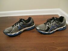 Used Worn Size 10.5 Asics Gel Nimbus 14 Shoes Silver Gunmetal Black Blue White