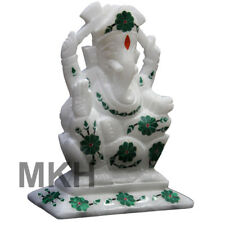 Lord Ganesh Marble Statue Figurine Inlay Stone Ganesha Sculpture Hand Carved