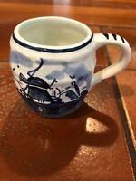 "Vintage Delft Blue Tea Coffee Cup Mug Holland, Hand Painted Windmill, 2 3/4"" H"