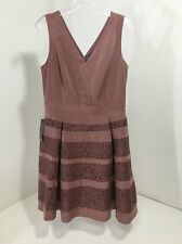 THE LIMITED FLARED FLORAL ACCENT DRESS MAUVE SZ 10 $128 NWT