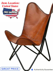 Leather Handmade Butterfly Chair Seat Folding Modern Sling Vintage Accent Lounge