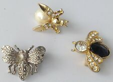 broche lot de 3 petits insectes couleur or/argent cristaux diamant brillance 396