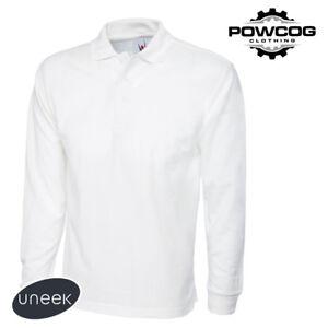 UNEEK MENS WOMENS PLAIN LONG SLEEVE Pique Polo T Shirt Top  7 COLOURS  UC113