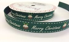 "5m ""Merry Christmas"" Pudding Print 16mm Green Grosgrain Ribbon Berties Bows Wrap"