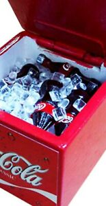 Miniature Dollhouse Accessories Coke freezer filled with Ice & Coke Bottles 1/12