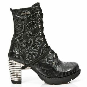 NewRock NEW ROCK TR001-S24 VINTAGE FLOWER BLACK STEEL HEEL ANKLE GOTHIC BOOTS