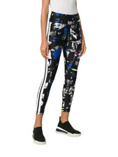 DKNY Women's Abstract High Rise Leggings sz M Medium Black Blue Purple Yoga
