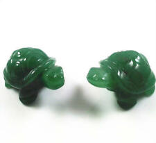 2PC 2 inch Green Aventurine Jade Stone Craving Lucky tortoise Feng Shui statue