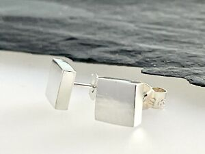 Chunky Sterling Silver 925 Smooth Surface Square Ear Stud Earrings 6mm Handmade