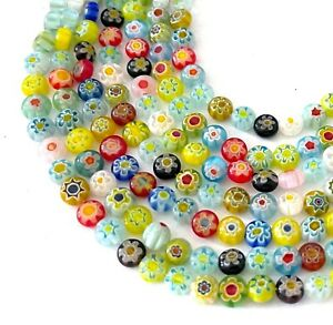 """6mm Millefiori Glass Assorted Coin Tiny Beads 16"""""""