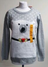 Women's Grey Polar Bear Christmas Jumper Size: UK S NEW!
