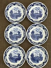 WH Grindley Blue & White Scenes After Constable Bowls - Lock On Stour Suffolk x6