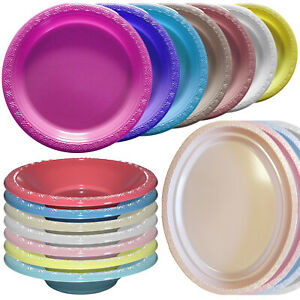 Essential Thermoformed Reusable Plastic Party BBQ Plates Bowls Serving Platters