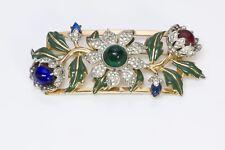 Coro Craft 1939 Adolph Katz Carmen Miranda Camellia Gold Plated Glass Brooch