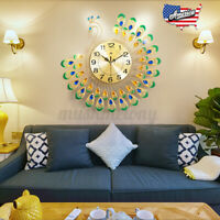 "20x20"" Modern 3D Peacock Diamond Large Wall Clock Alloy Watch Living Room Luxury"
