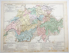 Original Physical & Political Map of Switzerland by Drioux & Leroy Paris 1884
