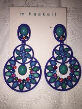 "Big Earrings by M. Haskell Blue 2 3/4"" Dangle New"