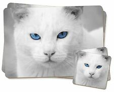 Blue Eyed White Cat Twin 2x Placemats+2x Coasters Set in Gift Box, AC-6PC