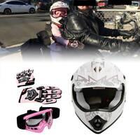 DOT Helmet Youth Kids Motorcycle Full Face Offroad Dirt Bike ATV Goggles Gloves