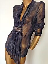 Gorgeous V-neck dressy mesh occasion top/tunic M