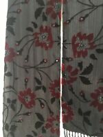 Chicos Black Scarf Velour Floral Flower Print w/ Beading  w/ Fringe