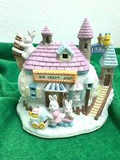 "Bunnies With ""Egg"" Ice Cream Shop Easter Collectible - Bisque Porcelain - Euc"