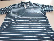 LONSDALE - NAVY / GREY PINSTRIPE POLO SHIRT - LARGE-CASUAL - SEE DESC FOR SIZING