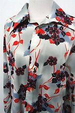 RARE! VTG Prince Igor by Burma gray floral shirt top blouse sz L womens L/S#6795