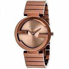 Gucci Interlocking Brown Dial Stainless Steel Ladies Watch YA133211