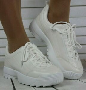 Womens White Wide Fit Running Trainers Lace Up Jogging Gym Sneakers Comfy Shoes