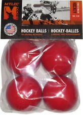 Mylec Hockey 4 Pack Street / Floor Hockey Balls, No Bounce, 75°F and Up, Red