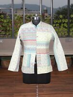 Women Kantha Quilted Jacket Green Floral Handmade Cotton Coat Blazer Casual Wear