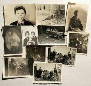 MIXED PHOTOS Lot  11 pcs PHOTOGRAPHS SNAPSHOTS Black White Russian people