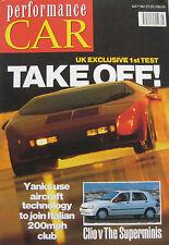 Performance Car 05/1991 featuring Vector W8, Saab Carlsson, Minker 323, Morgan