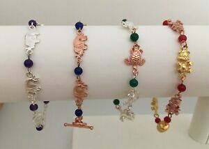 Animal Charm & Dyed Quartz Bead Rosary Bracelets with Plated Clasps