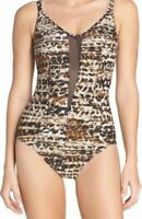 Miraclesuit Womens Size 16 Swimsuit Mesh Wild Leopard One-Piece Animal Print NEW