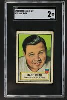 Babe Ruth New York Yankees 1952 Topps Look N See #15 Graded Card SGC 2