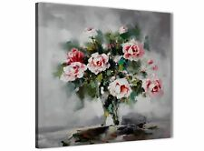Pink Grey Flowers Painting Abstract Dining Room Canvas Wall Decor 1s442l - 79cm