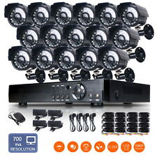 "16 Channel Security DVR 700TVL 1/4""CMOS 24IR 3.6mm Outdoor CCTV Camera System"
