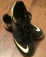 Nike BOMBAX IC Black/Yellow Low Top Indoor Soccer / Football Shoes 2.5 youth