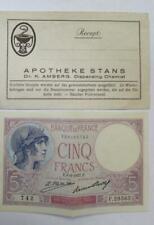 5 CINQ FRANCS #E.8=9=1927.E. PAPER CURRENCY