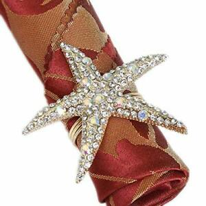 Napkin Rings - Set of 6 Rhinestone Ocean Coastal Nautical Crystal Starfish